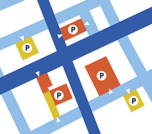 Thumbnail map of parking lots in downtown Saline Michigan
