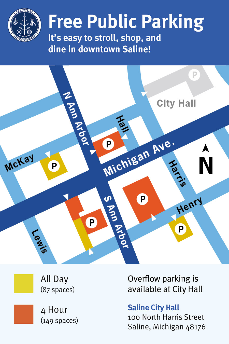 Map of free public parkingin downtown Saline Michigan